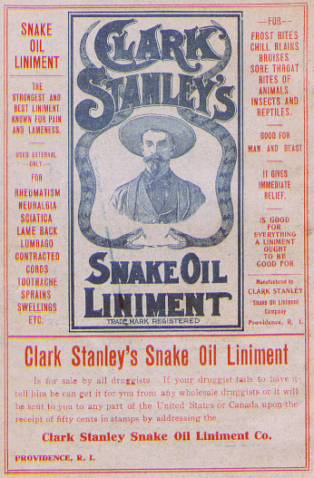 "An old snake-oil liniment advertisement claiming to be ""good for everything"" and listing a variety of ailments."