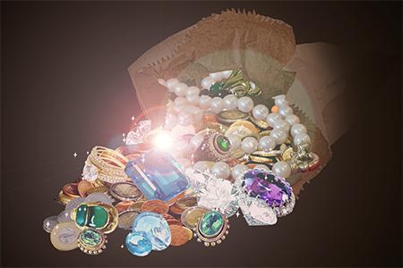 jewel bag with shine